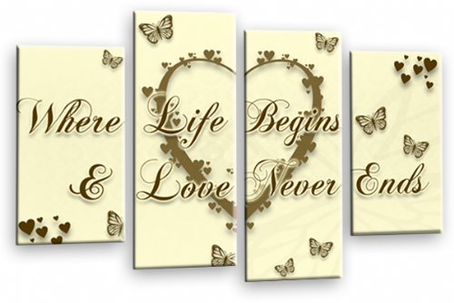 Love Heart Wall Art Picture Print Life Quote Cream Brown Gold